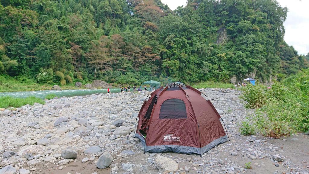 多摩川で水遊び